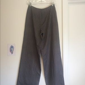 Patterned Silk Structured Wide Leg Pants
